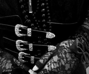 accesories, black and white, and dark image
