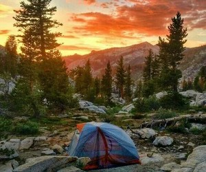 camp, sunset, and camping image