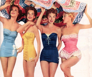 vintage, girls, and swimsuit image