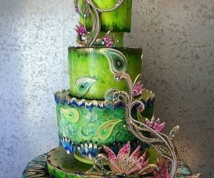 cake, green cake, and peacock feather image