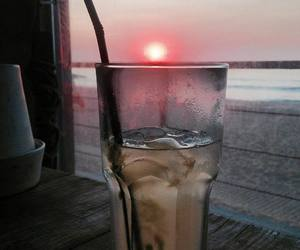 autumn, beach, and drink image
