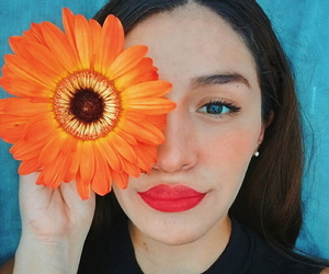 eyes, lips, and flower image
