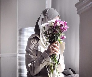 flowers, hijab, and girl image