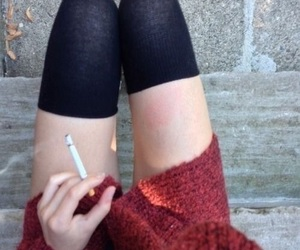 cigarette, legs, and skinny image
