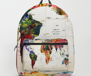 backpack, world map, and fashion accessories image