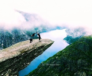 backflip, cliff, and nature image