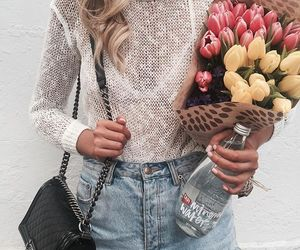 bag, clothes, and flowers image