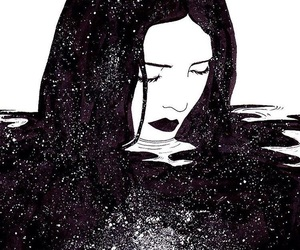 art, girl, and black image