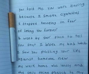 cigarettes, hurt, and Letter image