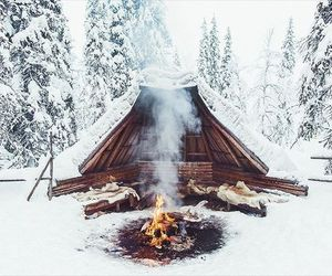 snow, winter, and fire image
