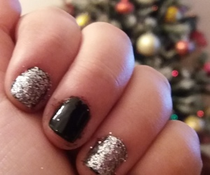black, glitter, and blacknails image