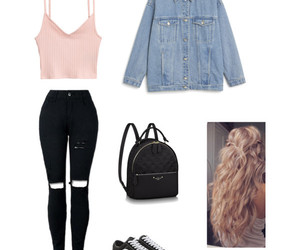 fashion, jean jacket, and casual outfit image