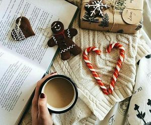 candy cane, reading, and hot drink image