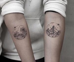 mountain, sea, and tattoo image