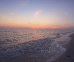 beach, dusk, and ocean image