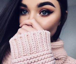 pink, makeup, and sweater image