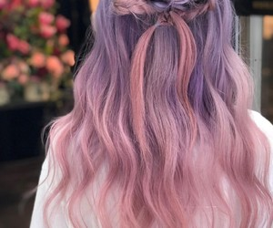 hair, hair style, and pink hair image