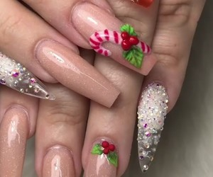 candy, long nails, and nude nails image