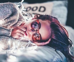 lights, girl, and sunglasses image
