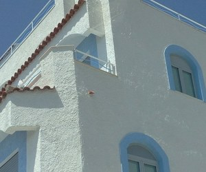 architecture, baby blue, and blue & white image