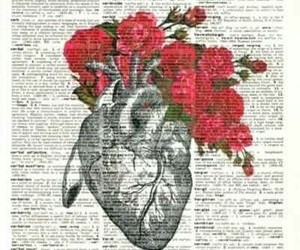 heart, drawing, and flowers image