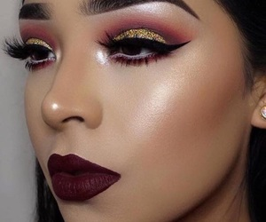 makeup, highlighter, and lips image