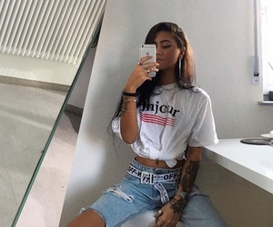 Tattoos, casual look, and white tshirt image