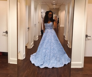 ball gown, blue, and cinderella image