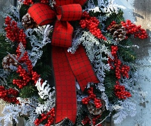 christmas, wreath, and red image