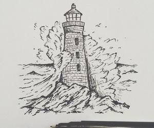 drawing, tattoo idea, and lighthouse tattoo image