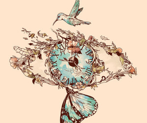 art, bird, and butterfly image