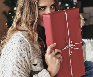 christmas, gift, and girl image