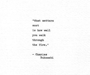 charles bukowski, fire, and life image