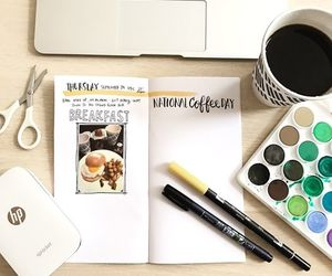 cute, art inspired, and coffee. paper. laptop image