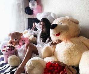 balloons, happiness, and teddy image