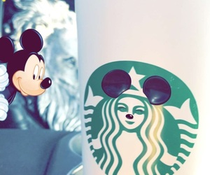 coffee, starbuks, and mickey mouse image
