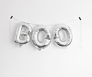 balloons, boo, and silver image