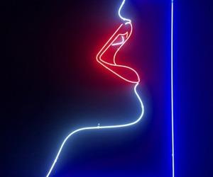 lips, neon, and girl image