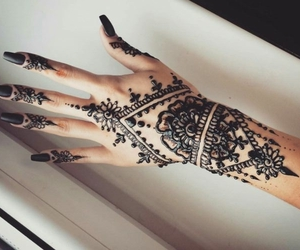 art, black nail polish, and henna image