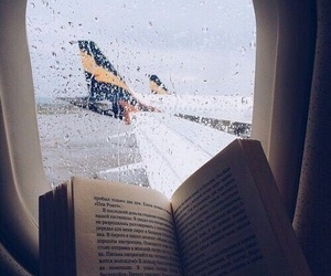airplane, books, and read image