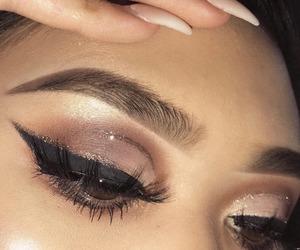 makeup, nails, and eyeliner image