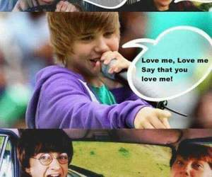 harry potter, justin bieber, and funny image