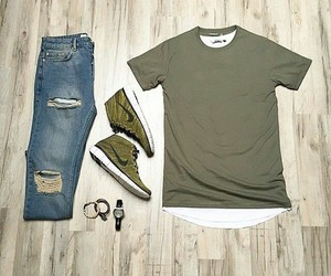 casual, jeans, and green image