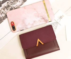fashion, wallets, and wine red image