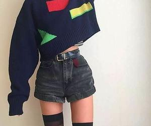 vintage sweater, black belts, and black crop sweaters image