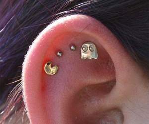 piercing, pacman, and earrings image