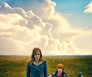 harry potter, hermione, and golden trio image