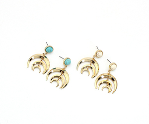 crescent moon, earrings, and stone earrings image