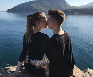couple, kiss, and tattoo image