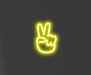 neon, peace, and wallpaper image